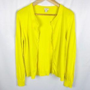 J. Crew The Caryn Cardigan neon bright yellow
